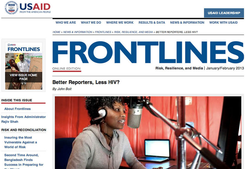 screen print of the frontlines article on the USAID website. Photo copyright by documentary photographer kenya christophe viseux