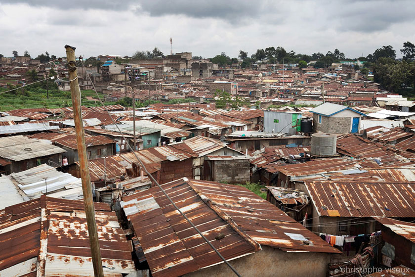 a roof-top view of the slum of Korogocho by documentary photographer kenya Christophe Viseux