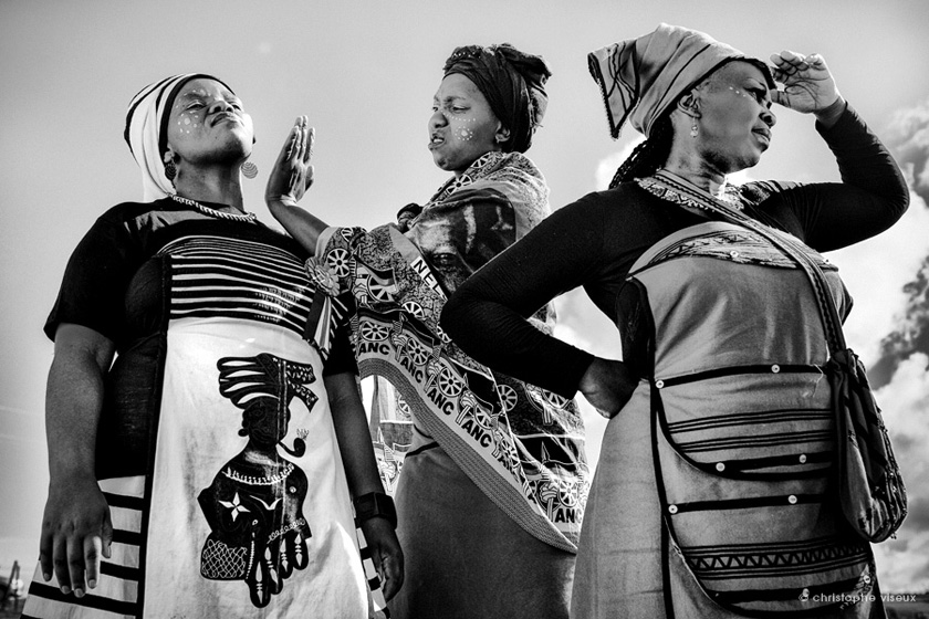 Group of women dressed traditionally to pay a last respect during Mandela Funeral